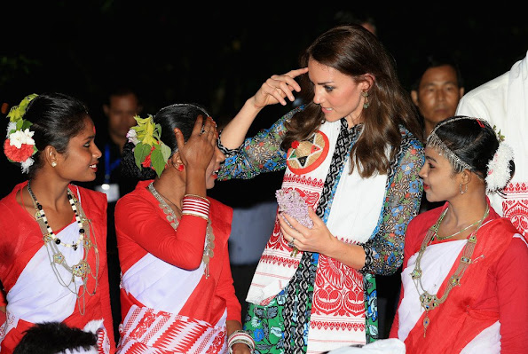 Prince William, Duke of Cambridge and Catherine, Duchess of Cambridge observe a dance and musical performance celebrating Assamese New Year