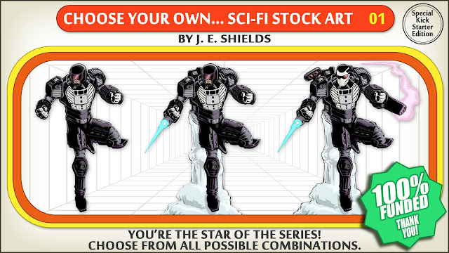 "A retro styled frame like that of a choose your own adventure book with images of science fiction characters, three people in power armor, saying ""you're the star of the series! choose from all possible combinations!"""