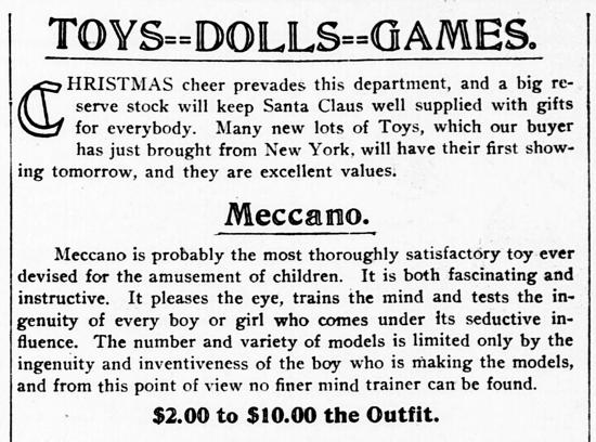 Meccano advertisement 1909