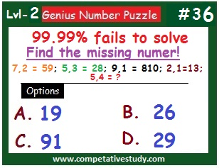 Math Puzzle: Find the missing number: 7,2 = 59; 5,3 = 28; 9,1 = 810; 2,1 = 13; 5,4 = ?