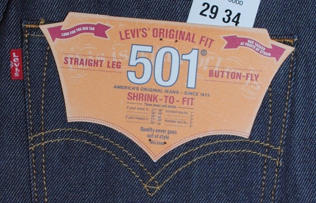 Levi's 501STF flasher showing 501 Shrink-To-Fit