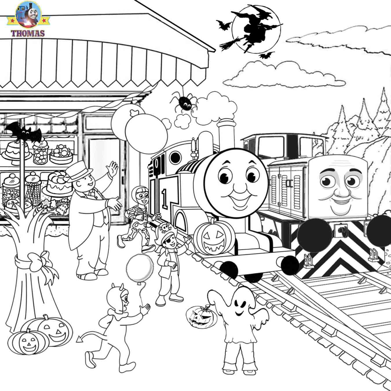Free printable halloween ideas kids activities thomas for Thomas the train christmas coloring pages