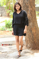 Actress Hebah Patel Stills in Black Mini Dress at Angel Movie Teaser Launch  0092.JPG