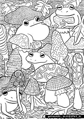 A coloring page of frogs and mushrooms / Värityskuva sammakoista ja sienistä