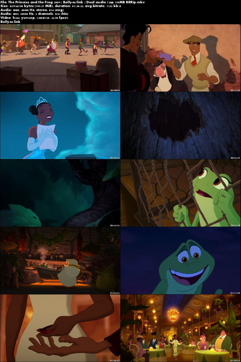 The Princess and The Frog 2009 BluRay 750MB Hindi Dual Audio 720p Download