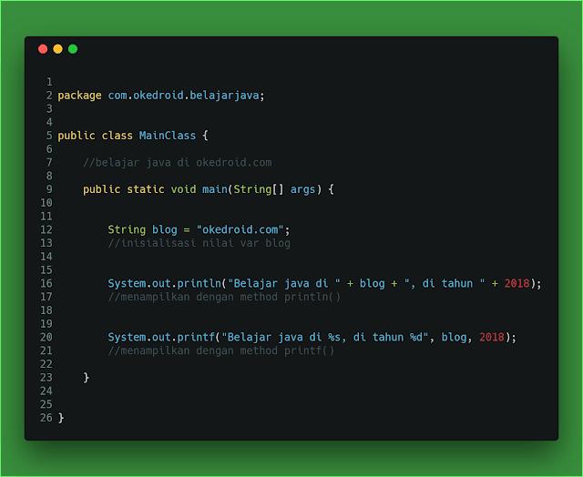 Contoh Code Program Penggunaan Method println() dan printf() di Java
