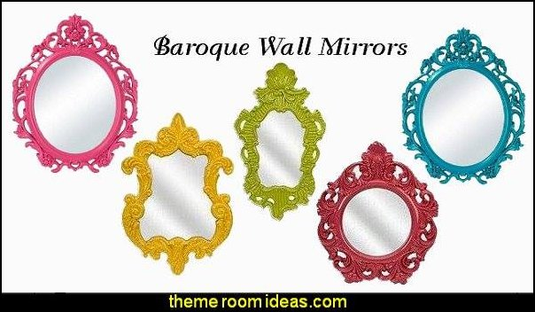 Baroque Wall Mirrors wall decorations - wall art prints - wall stencils - wall murals - wall decals - wall decor - Lighted Letters - wall letters - Storage wall shelves - Marquee Lights - picture frames - mirrors - decorative accents  cardboard wall mounts