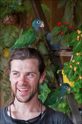 Joel Fedak, talked like a pirate the entire time, colombia, birds, parots, Chris Baer,