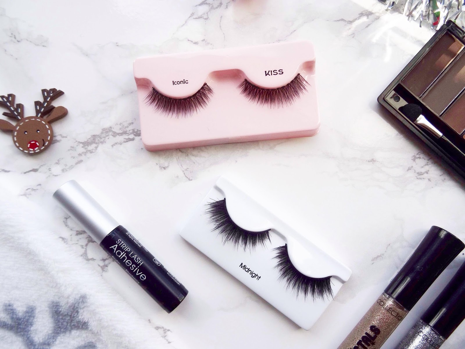 Kiss Natural False Lashes in Iconic and Kiss Lash Couture Faux Minx Lashes in Midnight
