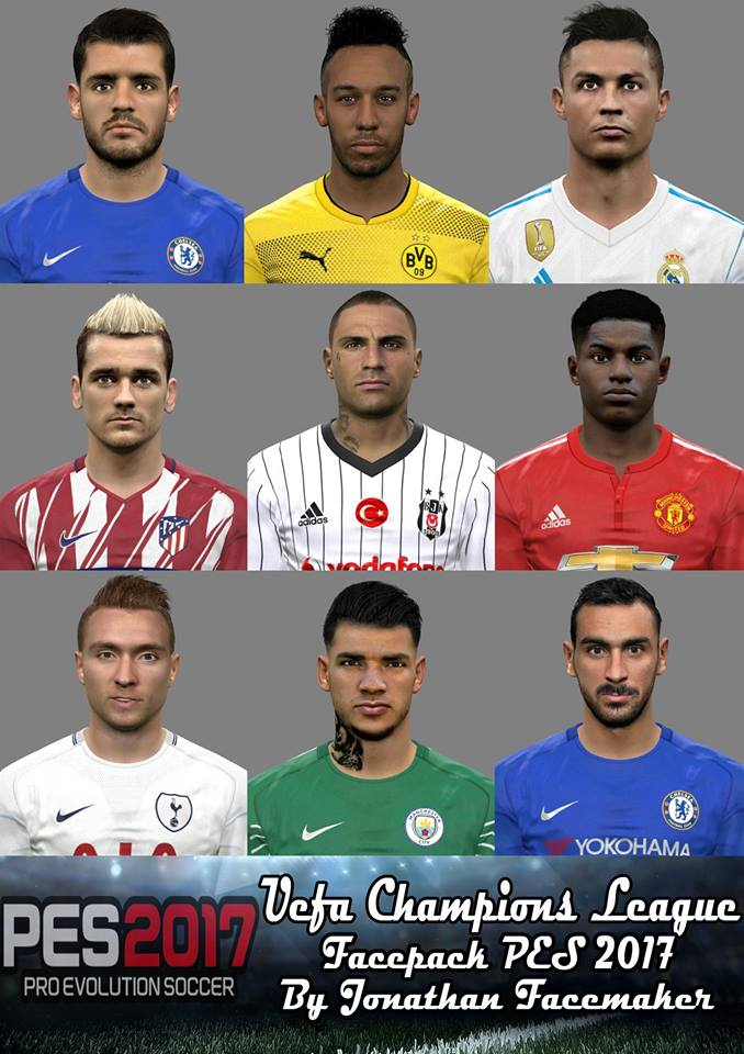 PES 2017 Uefa Champions League Facepack by Jonathan Facemaker