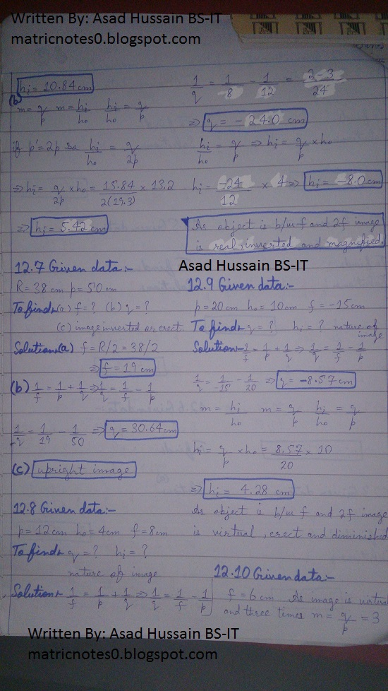 Matric 10th Physics Notes Chapter 12 Numerical Asad Hussain 1