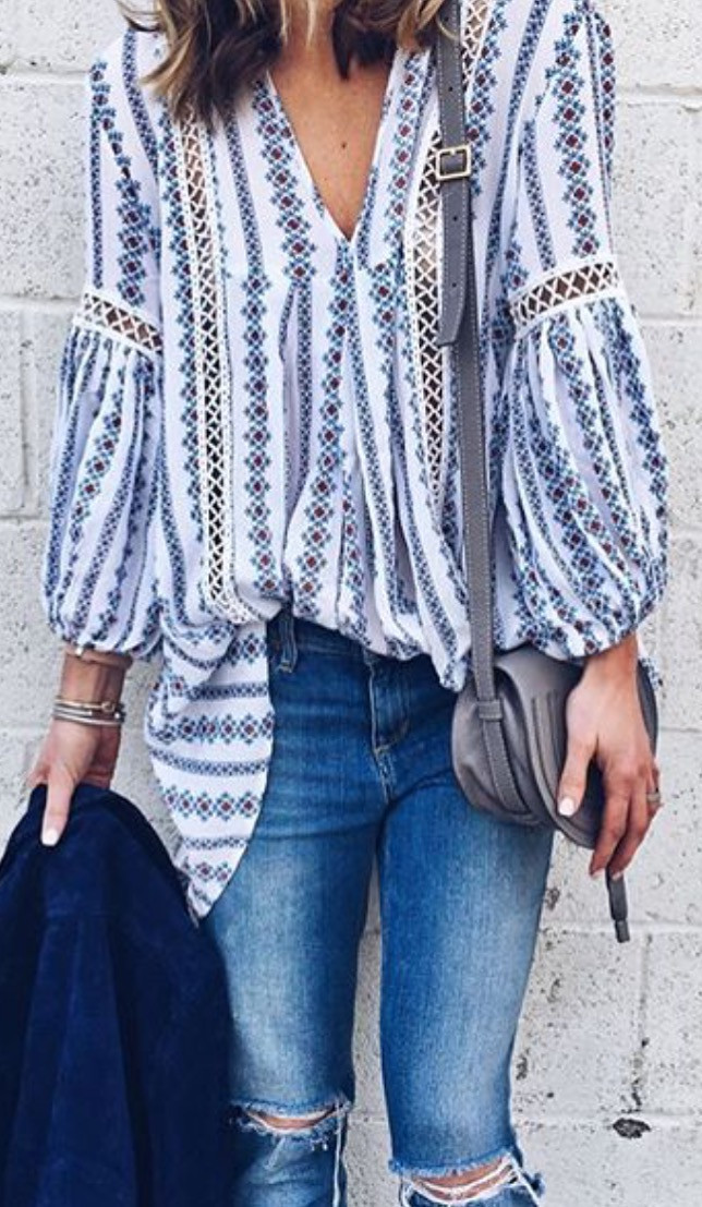 ripped jeans + printed boho shirt