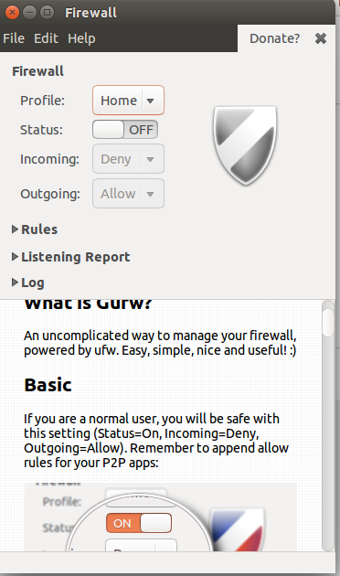 Default Setting of Gufw Firewall