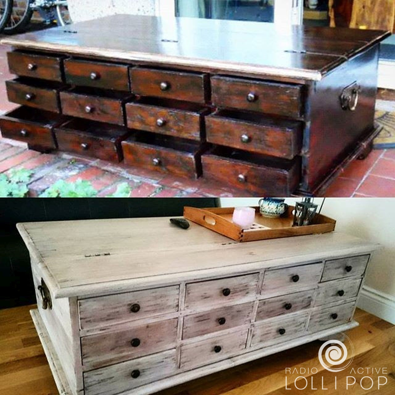 Renowacja starej skrzyni - stolika do kawy. Vintage / retro / Shabby Chic Style (DUŻO ZDJĘĆ)