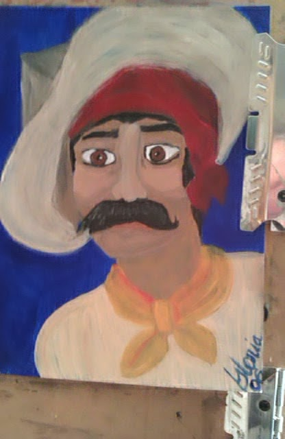 """Italian gypsy"" ethnic series sketch by Gloria Poole of Missouri; but painted in 2006"