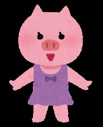 水着の動物のキャラクター(ブタの女の子)