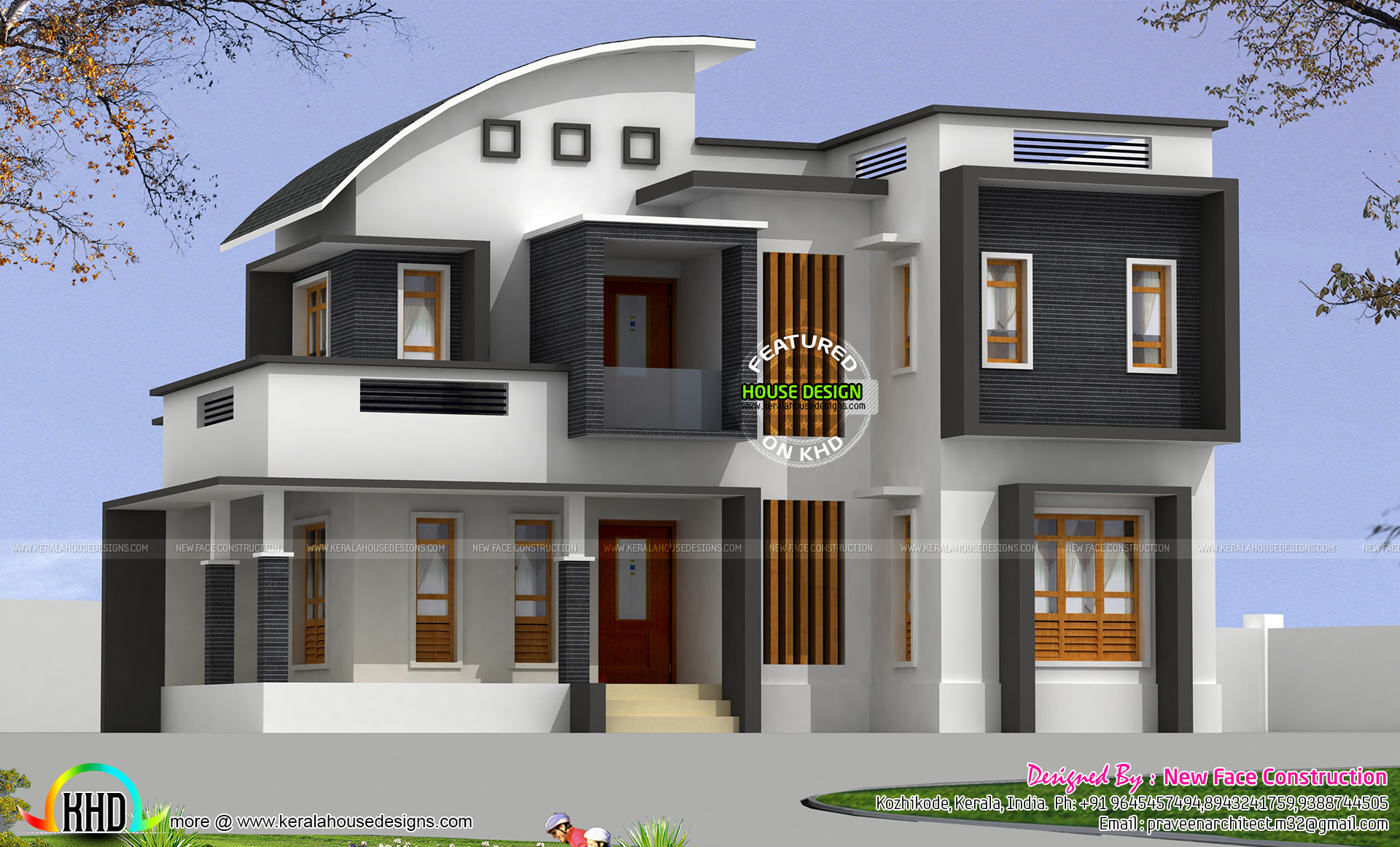 2314 sq ft 4 bhk modern curved roof mix home kerala home for Curved roof house plans