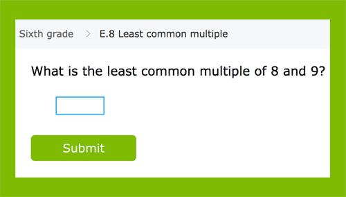 Ejercicios para reconocer el mínimo común múltiplo