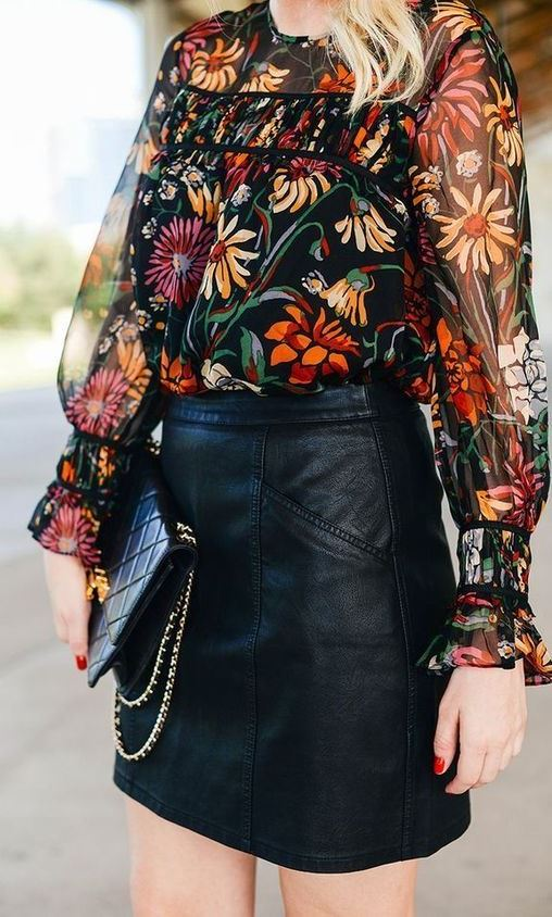 fashion trends | floral blouse + clutch + leather skirt
