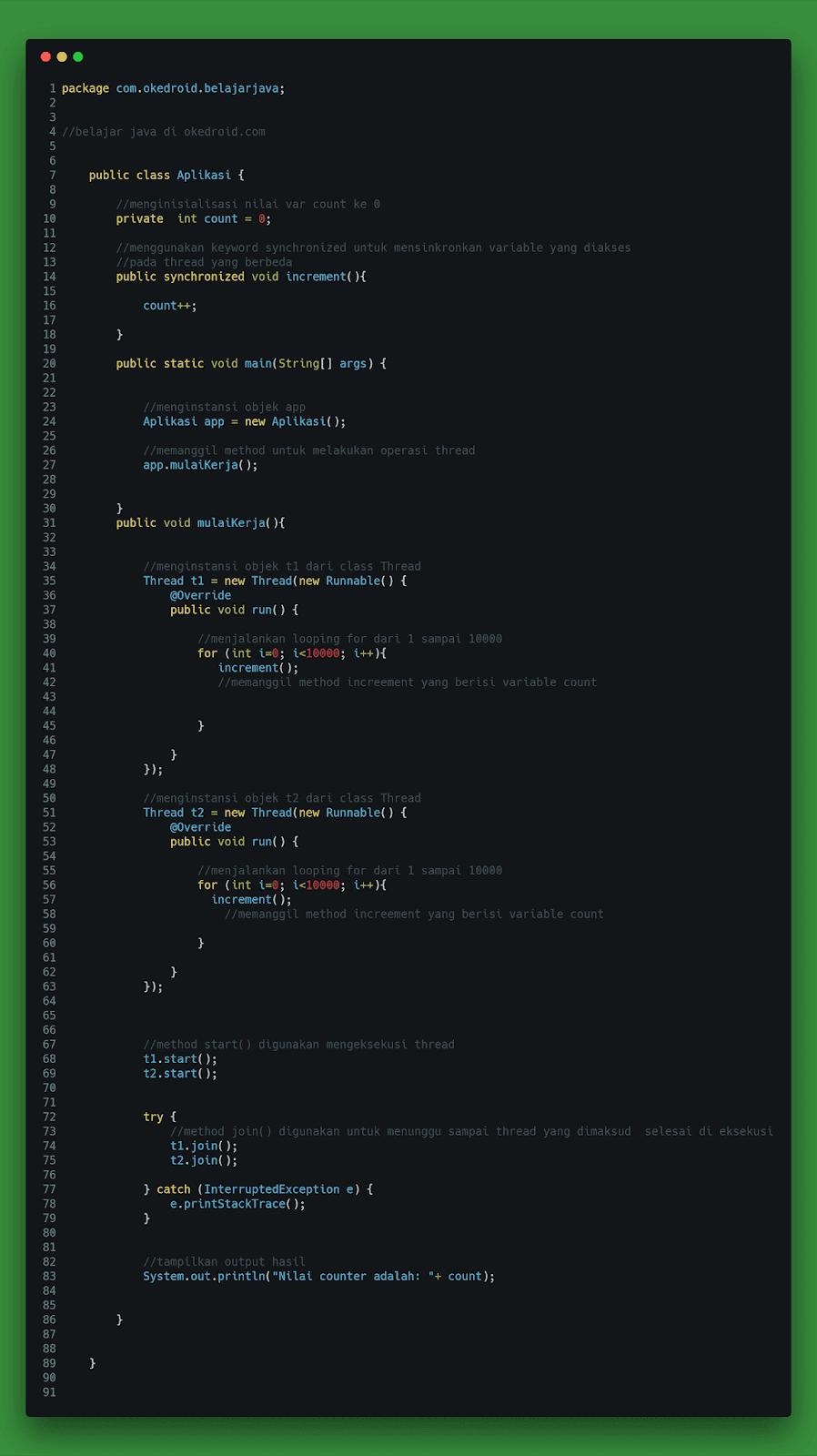 contoh code kode program yang menggunakan fungsi keyword synchronized di java