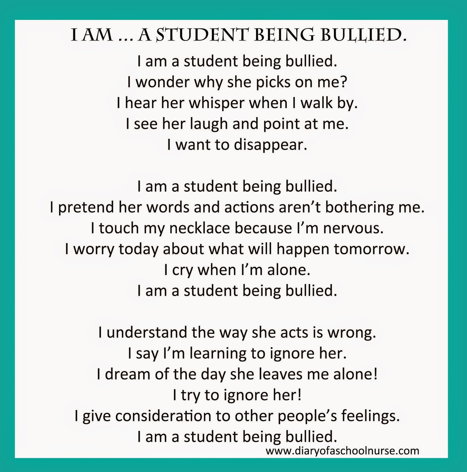 How to write a free verse poem about bullying?