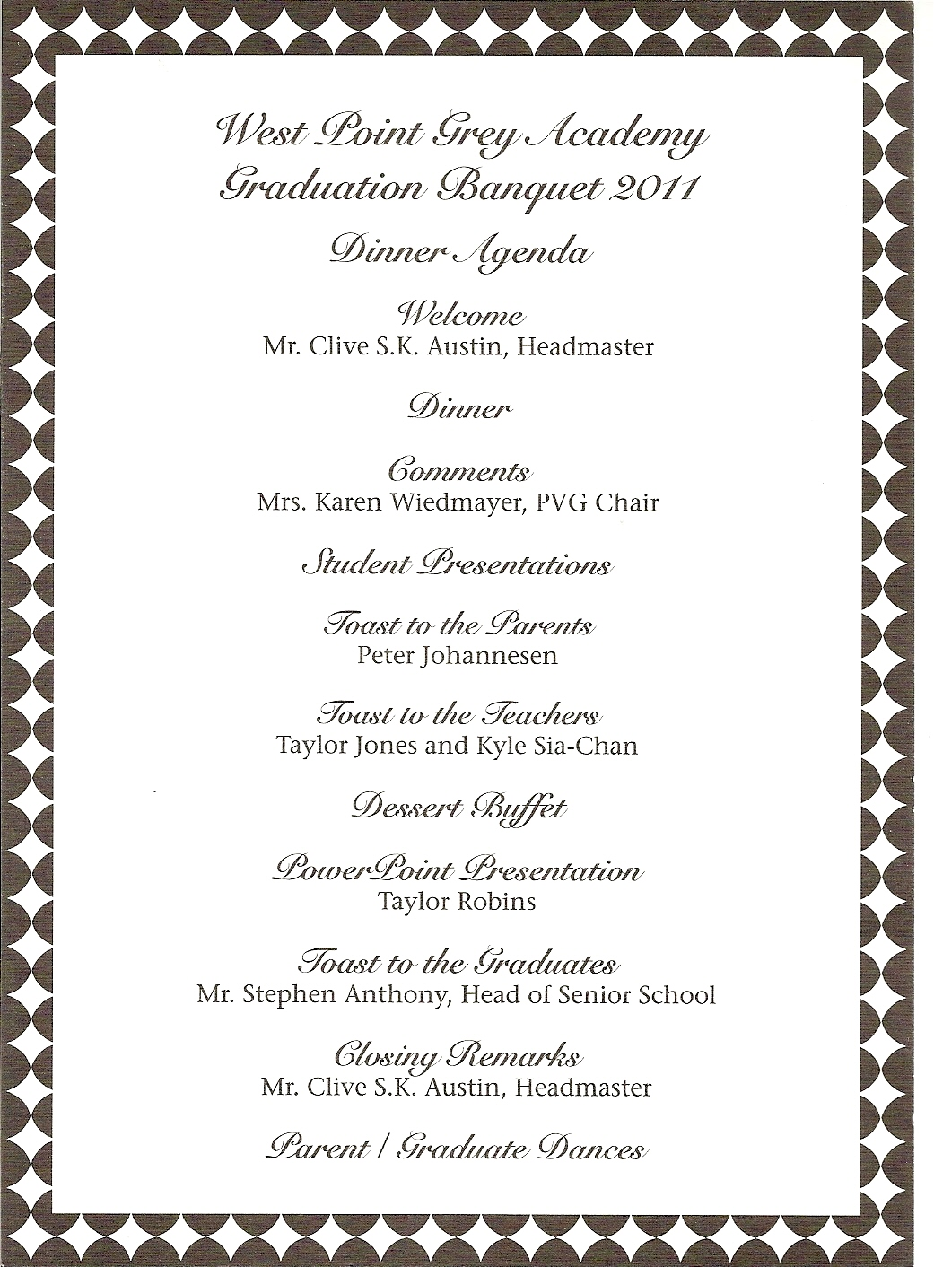 sports program template free - donna 39 s report wpga graduation banquet teddy