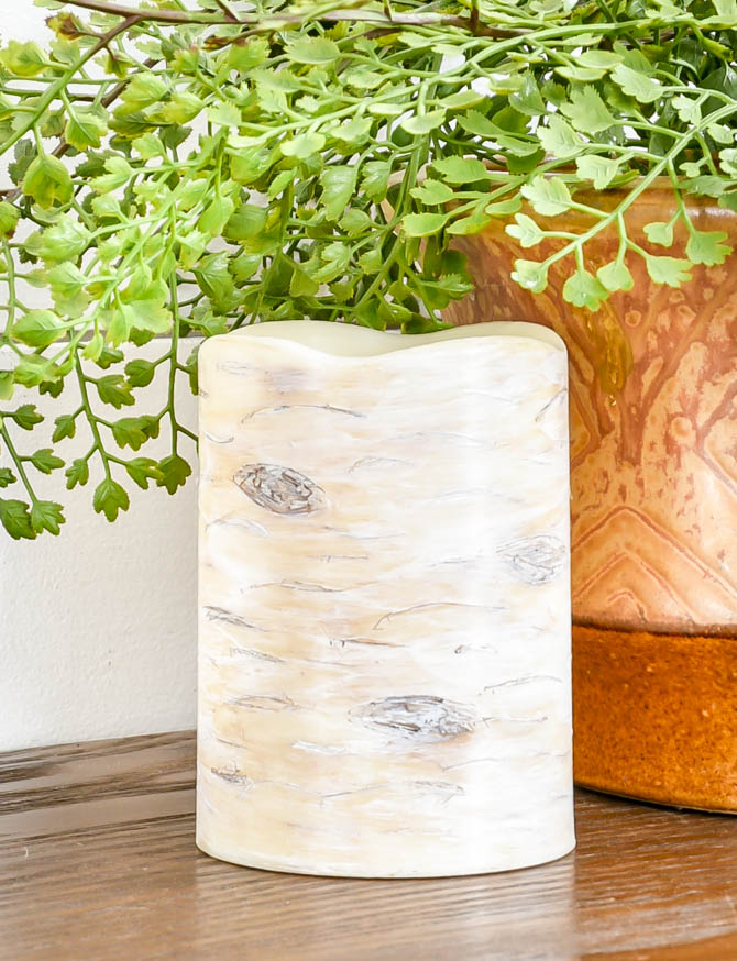 DIY painted faux birch candle