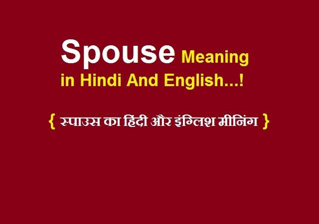 Spouse Meaning in Hindi And English