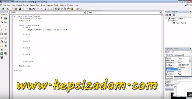 Visual Basic 6 Select Case Kullanımı Videolu Anlatım