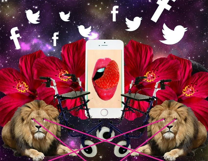 Internet Neuland alte Menschen online Silversurfer Löwe Laser Space Collage Moodboard LSD Berllin Hashtag Löwenweibchen Hibiskus Blüte Flussperle Hipster