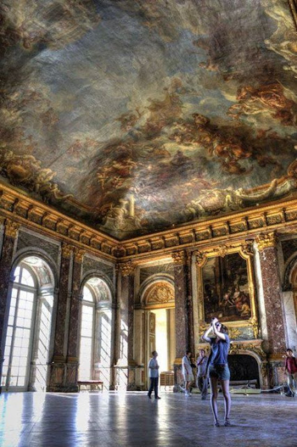 From the inside Palace (Chateau) Versailles, Paris, France