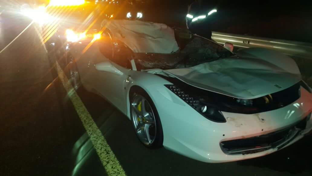 White Ferrari 458 Italia Collides With Cow On N17 Highway