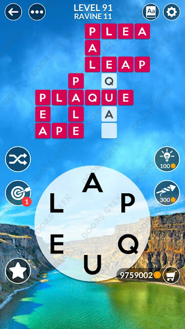 Wordscapes Level 91 answers, cheats, solution for android and ios devices.