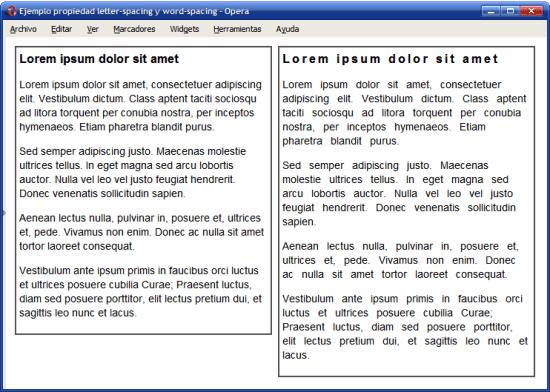Ejemplo de propiedades letter-spacing y word-spacing