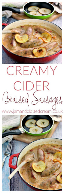 Creamy Cider Braised Sausages