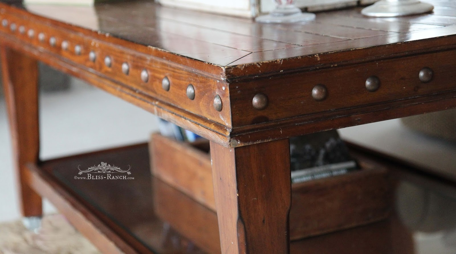 Old Table Painted Faux Metal Top Bliss-Ranch.com Maison Blanche
