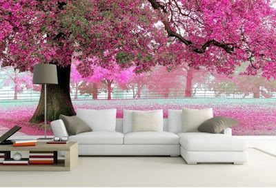 charming 3D image wallpaper for living room wall behind sofa