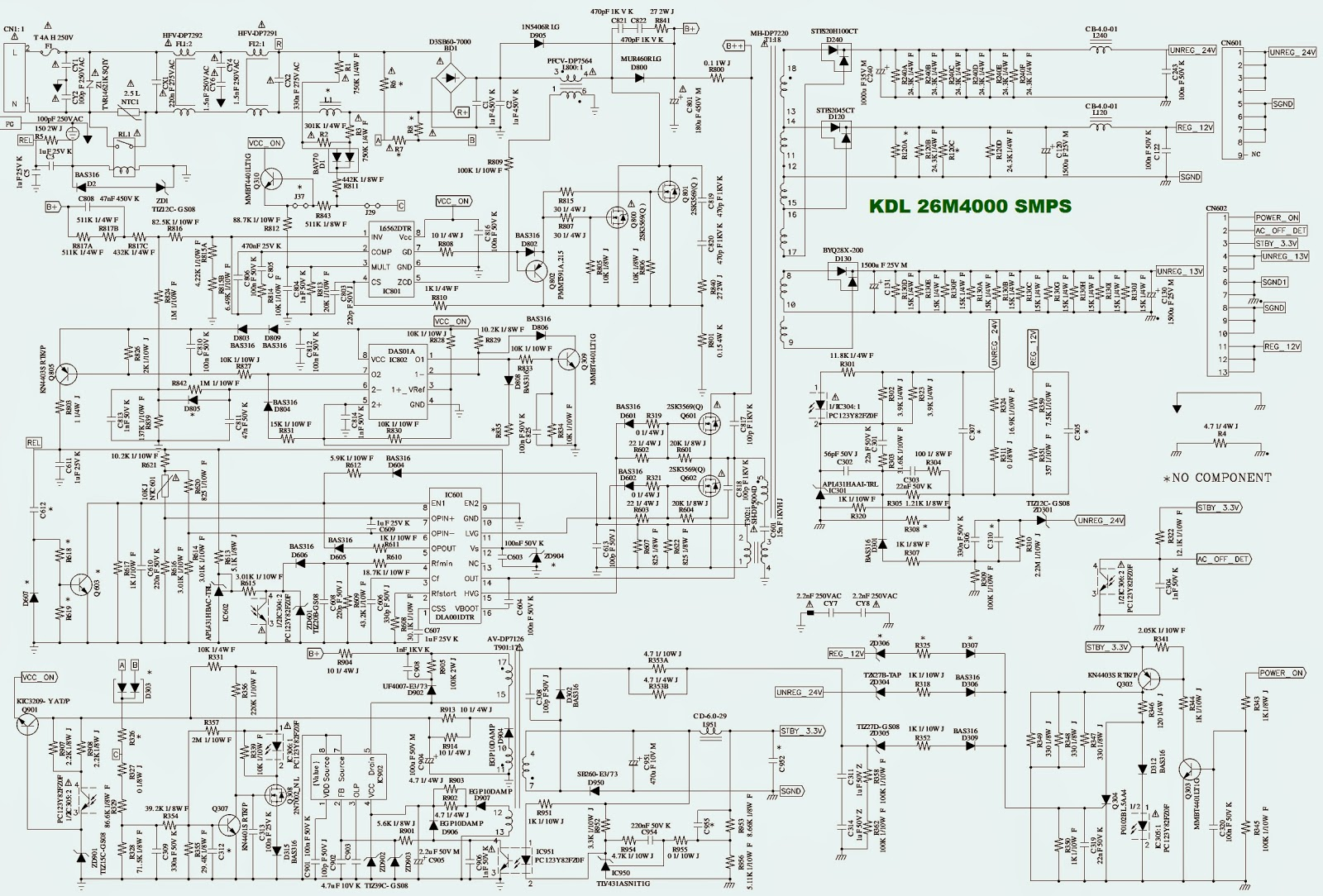 kdl 26m4000 sony bravia lcd tv power supply schematic circuit kdl 26m4000 sony bravia lcd [ 1600 x 1084 Pixel ]