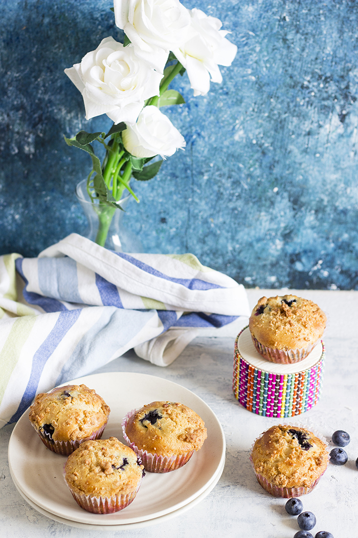 Eggless Blueberry Muffins with streusel topping