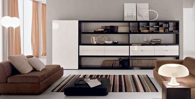 sala color marrón y beige
