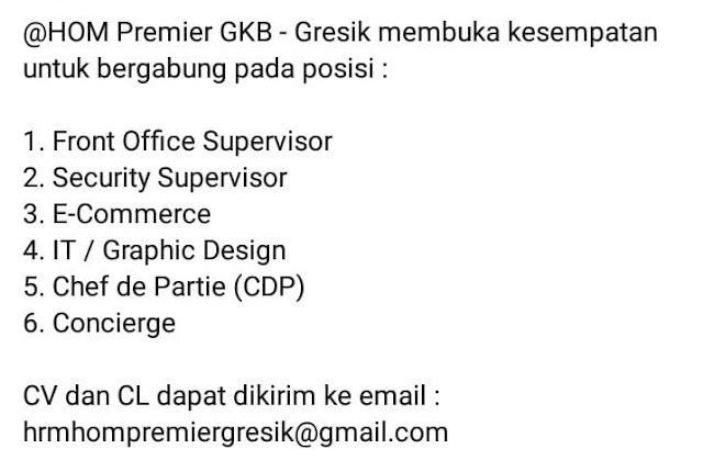 lowongan kerja HOM Premier Gresik