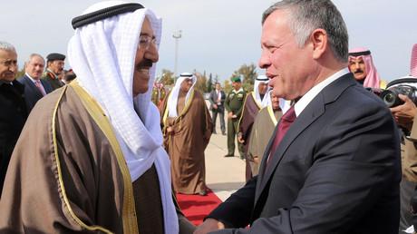 امير الكويت صباح الأحمد يستقبل العاهل الأردنى فى الكويت