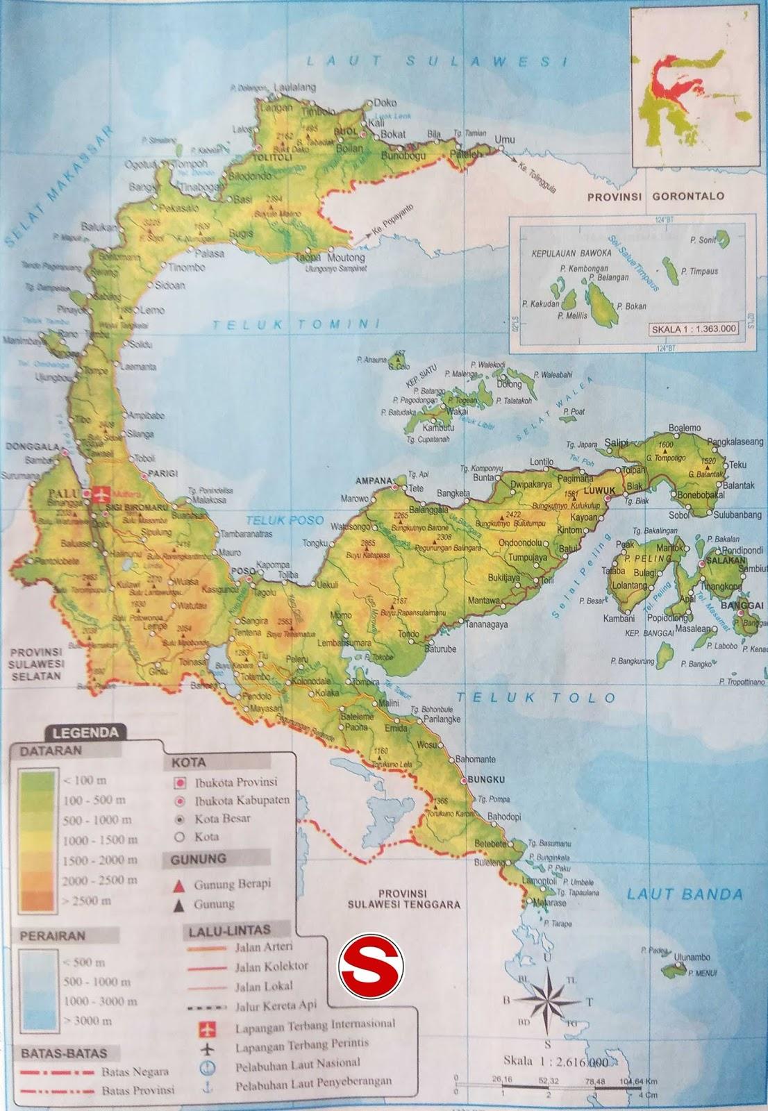 Peta Atlas Provinsi Sulawesi Tengah di bawah ini mencakup peta dataran Peta Atlas Provinsi Sulawesi Tengah