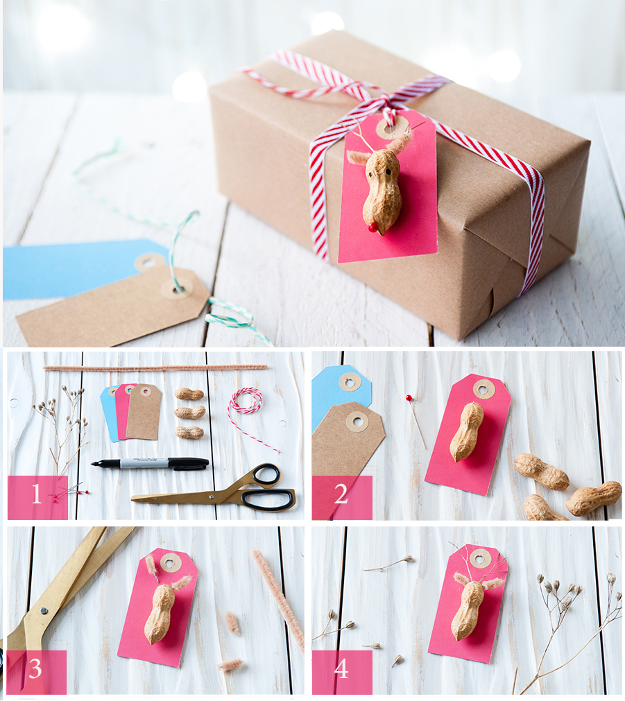 Step  by Step  to make reindeer gift tags for Christmas