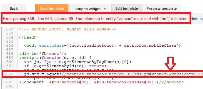 blogger not accepting javascript error parsing xml solved