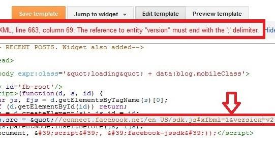 blogger not accepting javascript error parsing xml solved