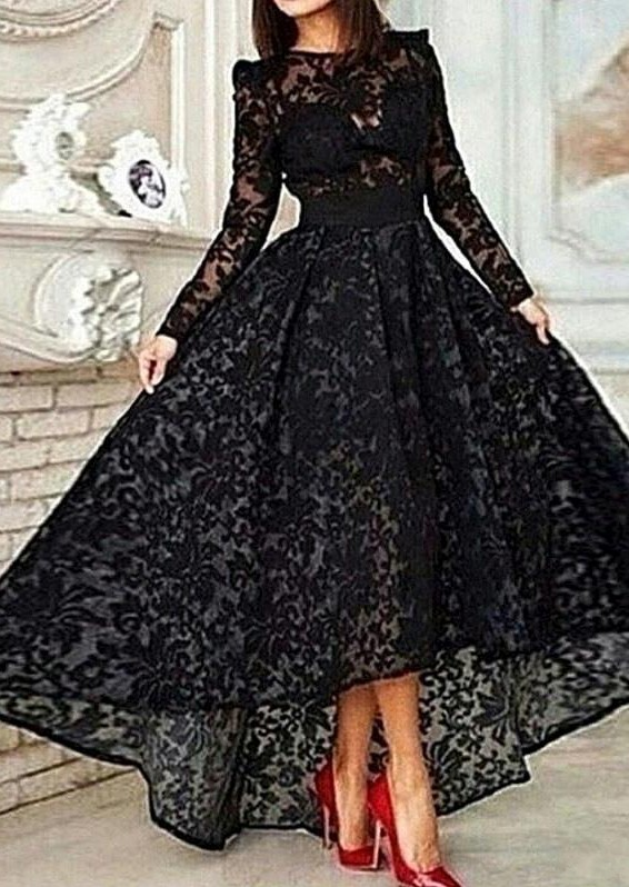 Vestido Black Hi-lo Long Sleeves Prom Dresses Sheer Lace Evening Gowns