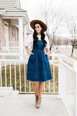 jardineira vestido jeans