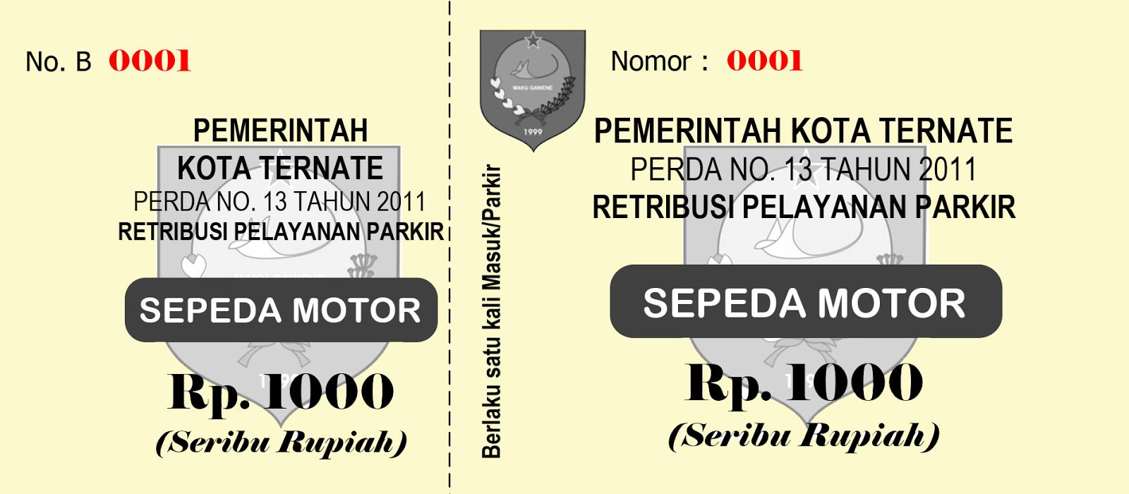 Karcis Parkir Sepeda Motor